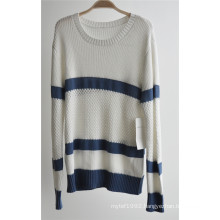 Ladies 100%Cotton Knit Pullover Sweater